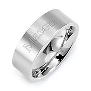 Contemporary Straight Edged Stainless Steel Wedding Band