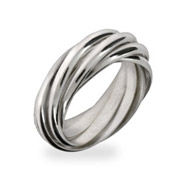 Seven Band Silver Rolling Ring