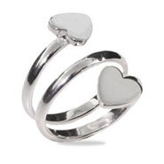 Spiral Double Heart Sterling Silver Ring