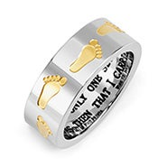 Footprints in the Sand Stainless Steel Ring