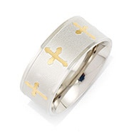 Engravable Gold Cross Message Band