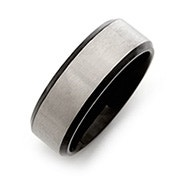 Men's Black Titanium Band with Brushed Silver