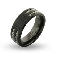 Men's Engravable Black Titanium Cable Inlay Signet Ring