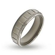 Men's Stainless Steel Milgrain Edge Ridged Band