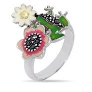 Designer Inspired Enamel Nature Frog Ring