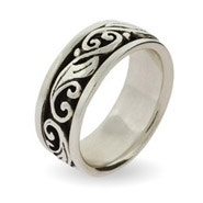 Engravable Silver Scroll Design Spinner Ring