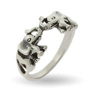 Sterling Silver Lucky Double Elephant Ring