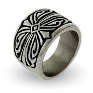 Men's Engravable Tribal Design Stainless Steel Ring