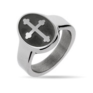 Engravable Oval Cross Signet Ring