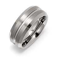 Men's Wide Groove Engravable Tungsten Wedding Band