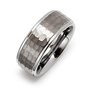 Square Diamond Cut Engravable Tungsten Ring