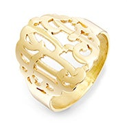 Gold Custom Monogram Ring