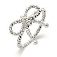 Designer Style Silver Twisted Bow Ring