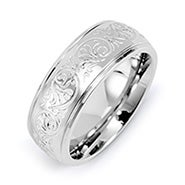 Engravable Men's Stainless Steel Carved Design Ring