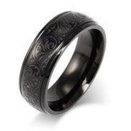 Men's Black Stainless Steel Carved Design Ring