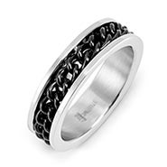 Men's Stainless Steel Black Chain Inlay Ring