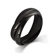 Engravable Black Triple Roll Russian Wedding Ring