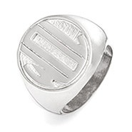 Block Monogram Silver Signet Ring