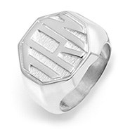 Block Monogram Octagon Silver Signet Ring