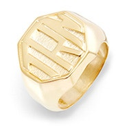 Block Monogram Octagon Gold Signet Ring