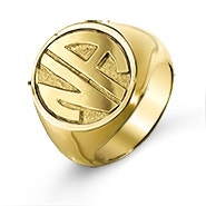 Block Two Initial Gold Signet Ring