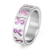 Pink Ribbon Breast Cancer Engravable Ring
