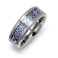 Men's Blue Dragon Design Tungsten Ring