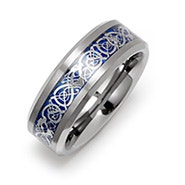 Men's Blue Dragon Design Tungsten Ring