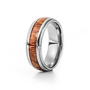 Men's Wood Inlay Migraine Edge Titanium Ring