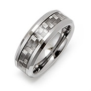Men's Carbon Fiber Inlay Tungsten Ring