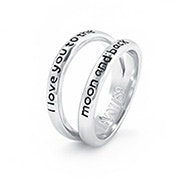 I Love You To The Moon and Back Double Band Sterling Silver Ring