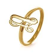 Custom Script Initial Ring in Gold