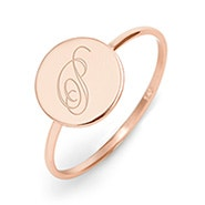 Engravable Initial Round Rose Gold Ring