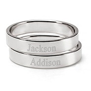 Engravable Two Silver Stacking Name Rings