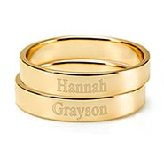 Engravable Two Gold Stacking Name Rings
