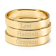 Engravable Three Gold Stacking Mother's Rings