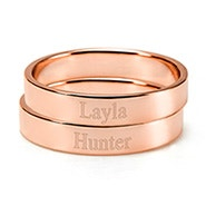 Engravable Two Rose Gold Stacking Mother's Rings