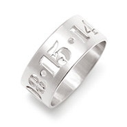 Custom Date Silver Cut Out Ring