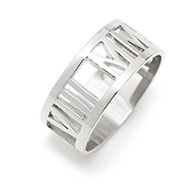 Custom Roman Numeral Silver Cut Out Ring
