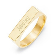 Engravable Name Bar Gold Ring