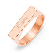 Engravable Name Bar Rose Gold Ring
