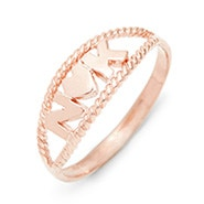 Two Initial Twisted Rope Rose Gold Couple's Ring