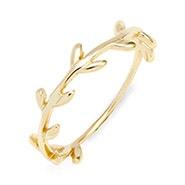 Leaf Branch Gold Stackable Ring