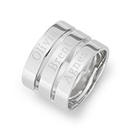 Engravable Sterling Silver Three Name Ring