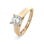 14K Gold 6mm Round Brilliant Cut Solitaire CZ Engagement Ring