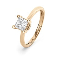 14K Gold 6mm Princess Cut Solitaire CZ Engagement Ring