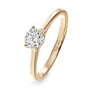 14K Gold 5mm Round Brilliant Cut Solitaire CZ Engagement Ring