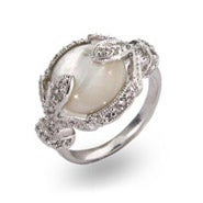 Vintage Silver Deco Style Mother of Pearl Ring
