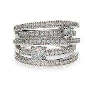 Sterling Silver CZ Highway Ring