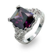 Sterling Silver Amethyst CZ Ring with Diamond CZ Design